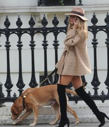 Kimberley Garner -  walking her Dog - London 20 November 2014 -x