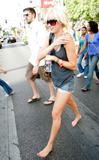 Kimberly Stewart goes barefoot on the streets of Las Vegas, September 9